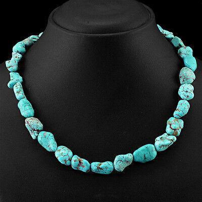 Finest Rare Cts Natural Untreated Turquoise Beads Necklace - Lowest Price 18""