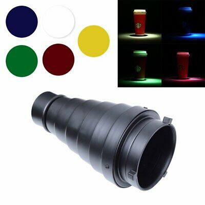 Bowens Mount Conical Snoot + Honeycomb Grid + 5 Color Gel Filter for Strobe