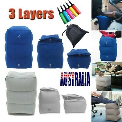 Inflatable Foot Rest Travel Air Pillow Cushion Office Home Leg Footrest Soft AU