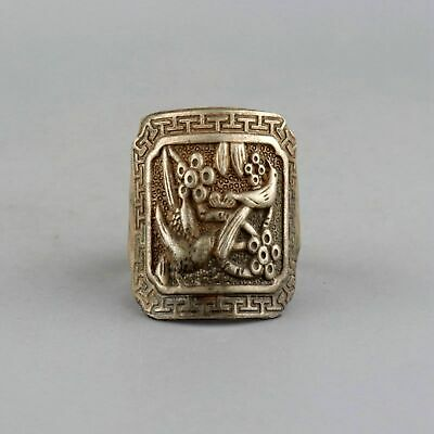 Collectable China Old Miao Silver Hand-Carved Magpie Bird & Flower Delicate Ring