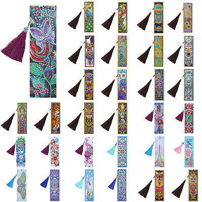 DIY Special Shaped Diamond Painting Leather Bookmark Tassel Book Marks Xmas Gift