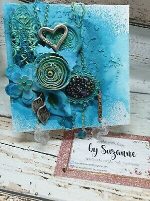 Mixed media art _ For the Love of Teal