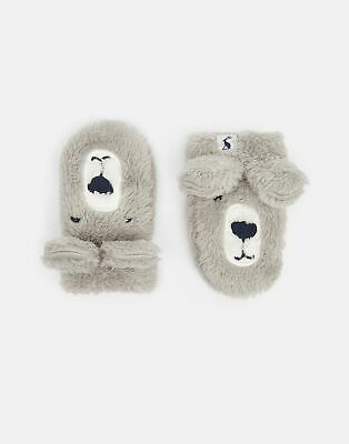 Joules Baby Snuggle Fluffy Character Gloves in BEAR Size 6min12m