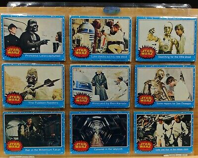 15 x 1977 Topps Blue Star Wars Trading Cards in good condition