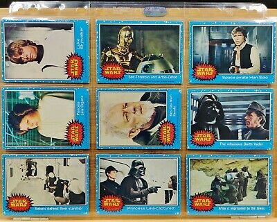 48 x 1977 Topps Blue Star Wars Trading Cards in Very Good/Excellent condition