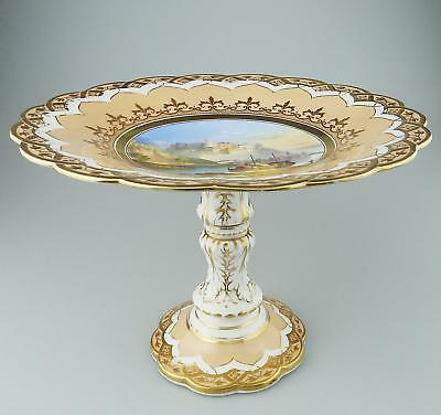Antique Fine hand painted English Porcelain Comport Tazza Coastal Scene C.19thC