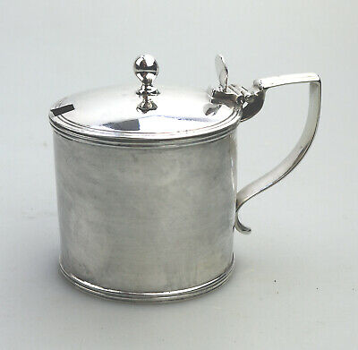Antique Solid Silver Large Georgian Drum Mustard Pot London 1805