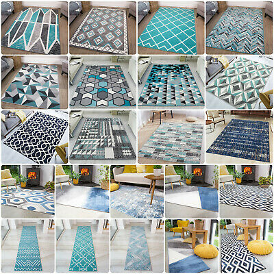 Modern Teal Rug | Cheap Rugs For Living Room | Soft Non Shedding Bedroom Carpet