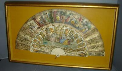 Antique Extraordinary 18th Century French Hand Painted & Signed Hand Fan Framed