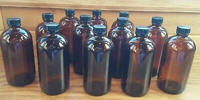 WHEATON Amber Glass Bottles  217214 Poly Seal Cone Cap 16 oz - Lot of 12 - NEW