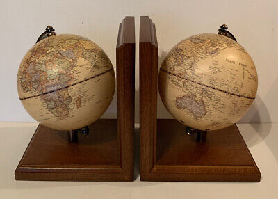Wooden Rotating Globe Bookends