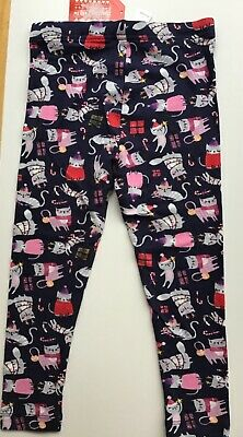 Girls Navy Blue Coloured Leggings with Cats and Xmas detail age 3-4 years