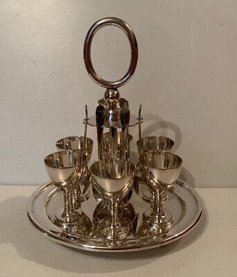 Walker & Hall Silver Plate Egg Cup, Spoon & Tray Set
