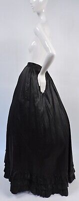 Victorian 19Th C Inky Black Glazed Cotton Petticoat / Skirt For Dress