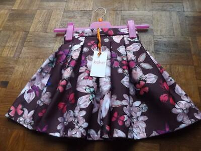 TED BAKER GIRLS age 7 COLOURFUL SCUBA SKIRT BUTTERFLY DIAMANTES CRYSTALS NEW