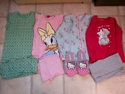 4 Sets Of Girls Pyjamas And Slippers Inc Next 8-9 Years