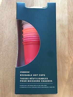 Starbucks Holiday 2019 Stackable Reusable 6 Hot Cups 16fl Oz Set Brand New Box