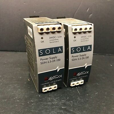 Sola Hevi Duty SDN 2.5-24-100 Power Supply Module 24VDC 2.5A 60W AC DC E137632