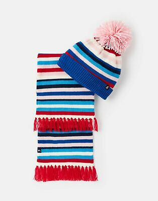 Joules Girls Snowy Hat And Scarf Set - MULTI STRIPE