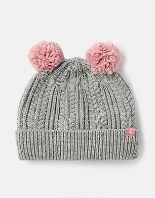 Joules Girls Ailsa Double Pom Hat in GREY MARL