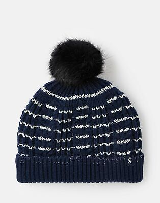 Joules Girls Bobble Hat - NAVY STRIPE