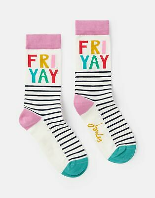 Joules Womens Brilliant Bamboo Single Socks in GREY FRIYAY Size Adult 4in8