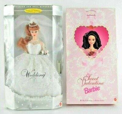 Mattel LOT of 2 Barbies  -  Wedding Day and Sweet Valentine - 1996 NRFB