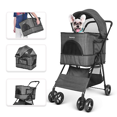 besrey Pet Stroller, 4 in 1 Multi-functional Pram Buggy Pushchair for Dog Cat 4