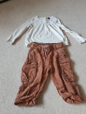 Girl's Age 5,  brown 3/4  length trousers by Next and a cream coloured top...