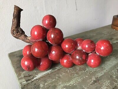 "LG 11"" red MID CENTURY Home Decor Italian  Alabaster Cluster Of Grapes"
