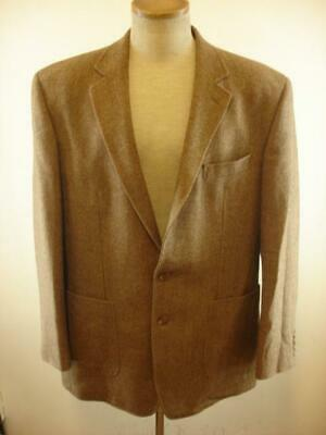 Mens 44L Ralph Lauren Wool Brown Tan Herringbone Tweed Jacket Blazer Sport Coat