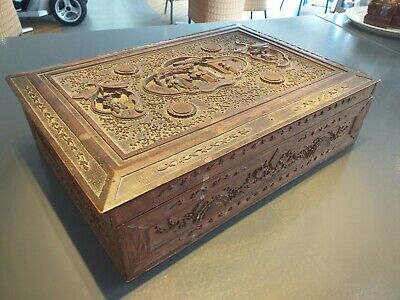 ANTIQUE 19th century wooden carved export box CARVINGS lotus lily flowers WOOD