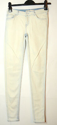 White Blue Ladies Casual Jeans Skinny Slim Size 34 Uk 6 Zara Stretchy