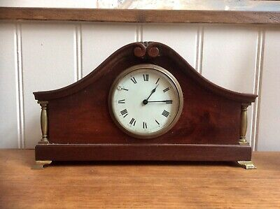 Antique Wind Up BUREN Mantel Clock,Swiss Movement,Mahogany,Porcelain Dial,Works