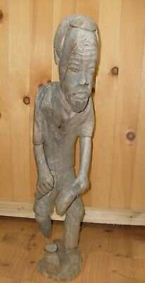Vintage Hand Carved WOOD MAN Sculpture  FOLK ART African Fisherman 22 inch