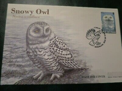 5x Owl Isle of Man First Day Covers from 1997, Snowy, Tawny, Little Owl etc