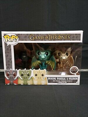 Funko Pop Game of Thrones GameStop Metallic 3pk Dragons Drogon Rhaegal Viserion