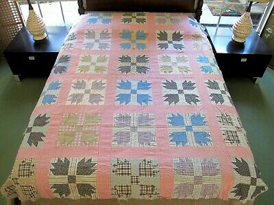 """Vintage Feed Sack & 19th Century Cotton BEAR PAW Quilt TOP; 81"""" x 68""""; Good !"""