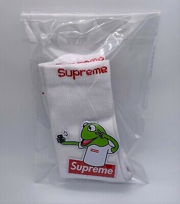 NEW SUPREME Hanes Crew Socks (One pair) WHITE with FROG STICKER