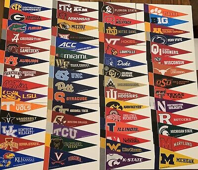 "NEW NCAA Teams Mini Pennants Pick Your Team 4""x9"" College SEC Big 10 Big 12 ACC"