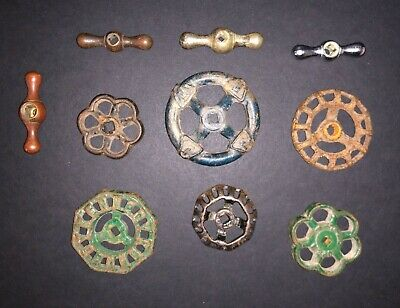 Vintage Water Knob Lot Of 10 Cast Iron Valve Faucet Handle Steampunk Industrial