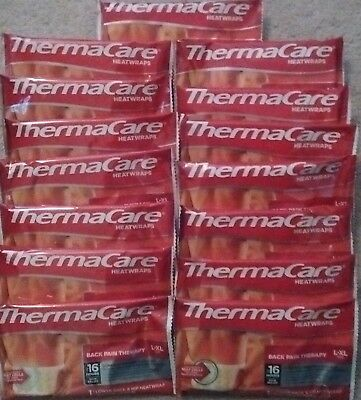 Lot of 15 Thermacare Heat Wraps L-XL Lower Back & Hip NEW SEALED