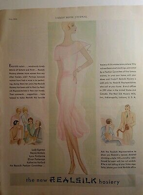 1930 women's Realsilk Hosiery vintage Art Deco fashion ad