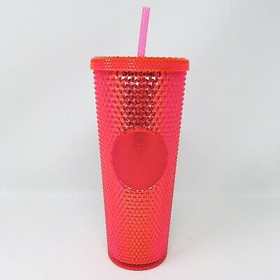 *NEW* Starbucks Winter 2019 Venti 24oz Bling Studded Tumbler Cup Neon Pink