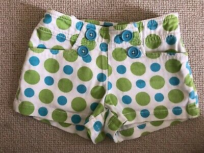 MINI BODEN White and Green Cotton Spotted Stretch Shorts Age 3 Years