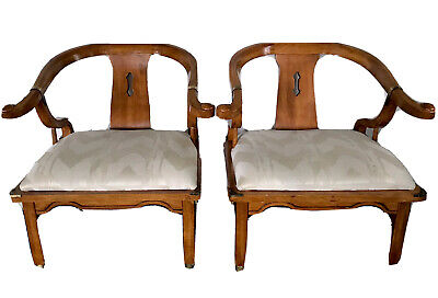 Vintage James Mont Style Mid century Horseshoe keyhole back Wood Club Chairs
