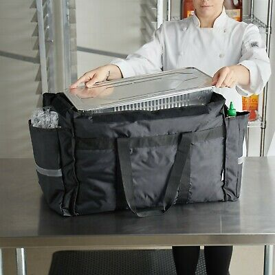 ServIt Heavy-Duty Insulated Black Nylon Soft-Sided Food Delivery Bag Pan Carrier