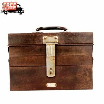 1900s Antique Old Rustic Iron 3 Compartments Hand Made Tool Box Collectible 2914