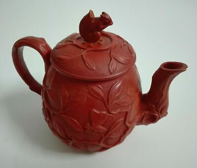 Majolica Rosso Teapot  19 Th Century c1880 by Wilhelm Schiller & Son (WS&S)