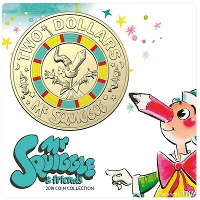 2019 Mr Squiggle & Friends 7 coin set in folder. Registered Post included.